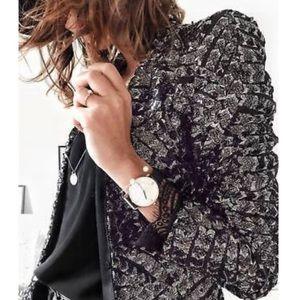 NEW Zara Sequin Black Silver V Neck Blazer